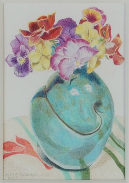 """""""Pansies in Turquoise Pot"""""""