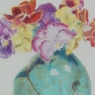 """Pansies in Turquoise Pot"""