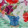 """Petunias in Blue Bowl"""