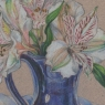 """White Alstroemeria in Blue Vase"""