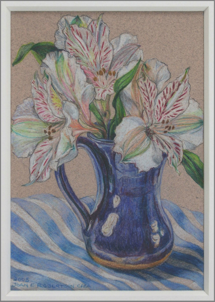 """White Alstroemeria in Blue Vase"""