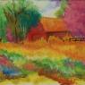 """Purple Barn in Flowered Field"""""""
