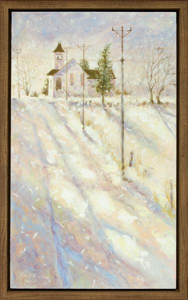 Snowfall on the Church Road-framed