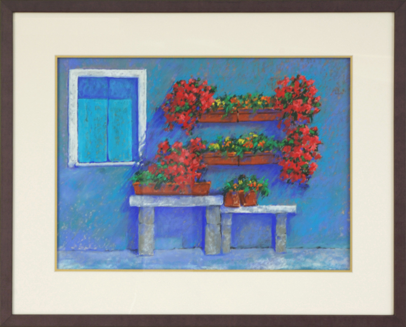 Geraniums in Italy, framed